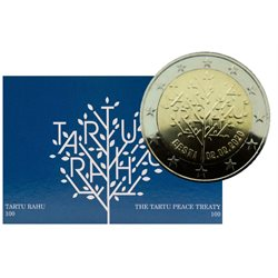 Estland - 2 Euro, Tartu Peace Treaty, 2020 (coin card)