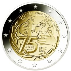 France - 2 Euro, 75 years of UNICEF, 2021