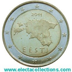 Estland 2 Euro The Map Of Estonia 2011