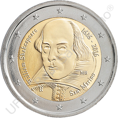 Saint Marin - 2 Euro, Shakespeare, 2016 (in blister)