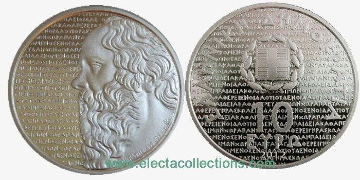 Greece - 10 Euro Silver Proof,  Greek culture, Socrates, 2012