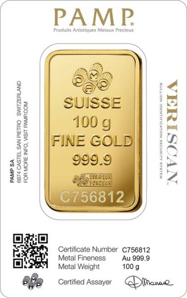 Gold Bar Pamp Fortuna 100 gramms 999.9/1000