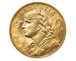 Switzerland - 20 Francs Gold XF, Helvetia, 1935