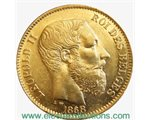 Belgique - 20 Francs Gold coin, King Leopold II, 1868