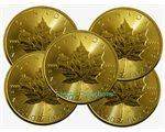 Canada - 5 X Gold coin BU 1 oz, Maple Leaf (mixed years)