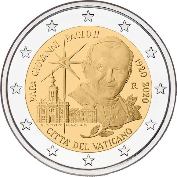 Vatican - 2 Euro, Saint John Paul II, 2020 (proof)