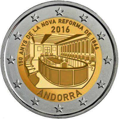 Andorra - 2 Euro, 150th Anniversary of the reform, 2016 (coin card)