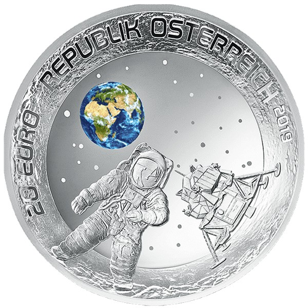 Austria - 20 Euro, FIRST MOON LANDING, 2019