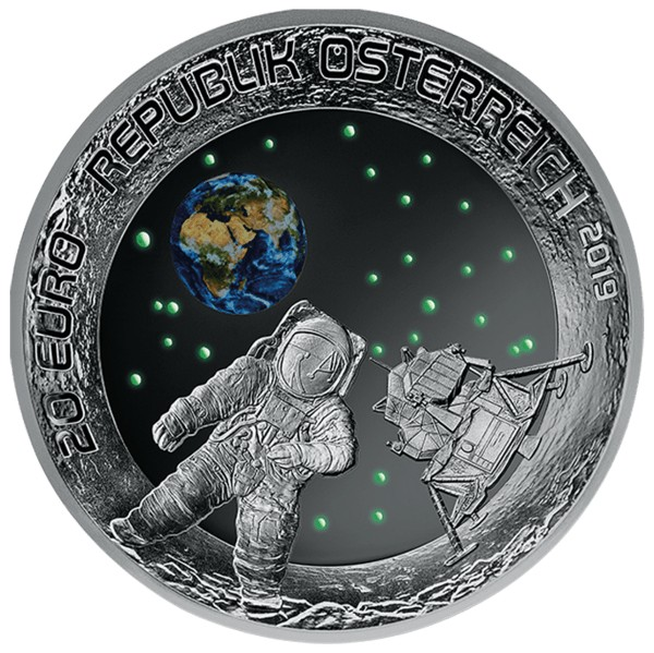 Autriche - 20 Euro, FIRST MOON LANDING, 2019