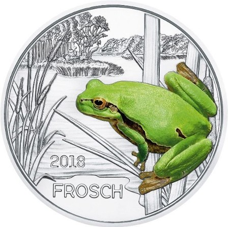 Austria -3 Euro, Creature colorate, la rana, 2018
