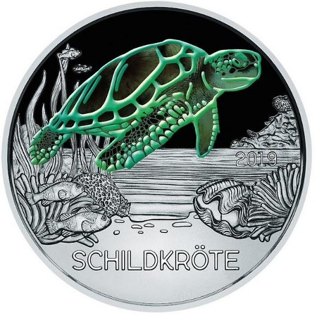 Austria – 3 Euro, Colourful creatures - the Turtle, 2019