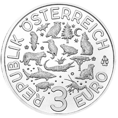 Austria -3 Euro, Creature colorate, Lontra, 2019