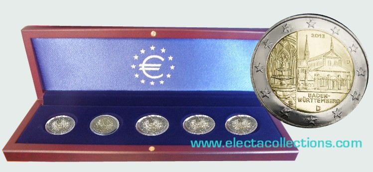 Germany – 2 Euro, Maulbronn monastery, 2013 - 5 coins A,D,F,G,J in coin box