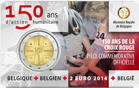 Belgium – 2 Euro BU, Red Cross, 2014 (coin card)