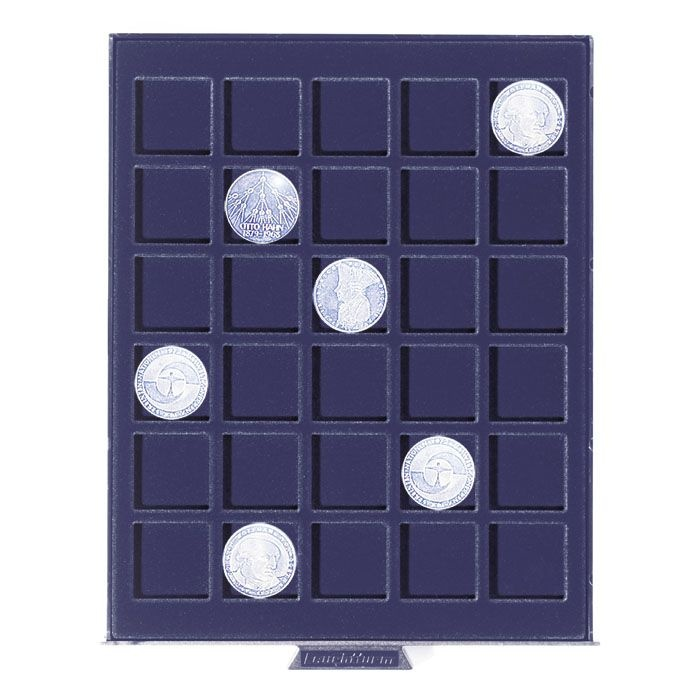 Coin box with square compartments for 30 coins 2 euro