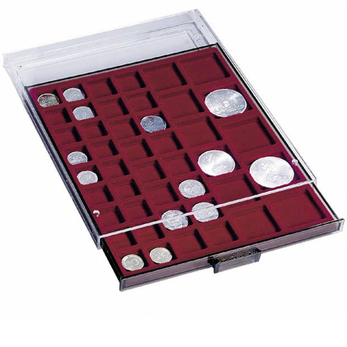 Coin box with 24 square compartments up to 42 mm