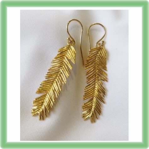 Acacia Leaf Earrings in gold plated silver