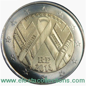 France - 2 Euro, World AIDS Day, 2014