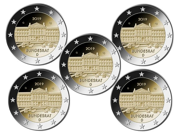 Germania - 2 Euro, Bundesrat, 2019 (A,D,F,G,J)