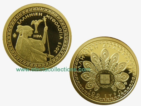 Grece - 100 Euro mini gold coin, HERA, 2015