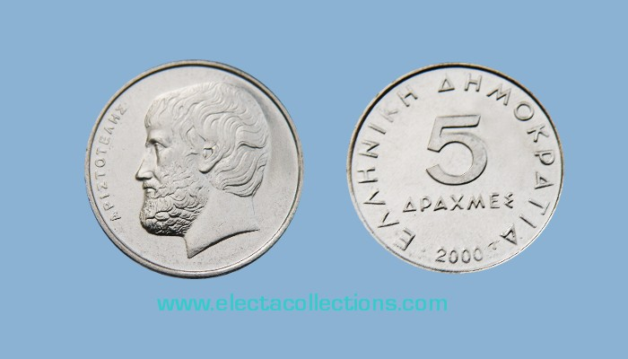 Greece - 5 drachmas coin UNC, Aristotle, 2000