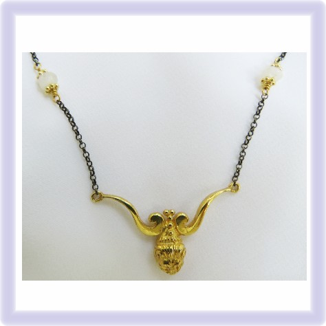 Lion Necklace, gold plated silver