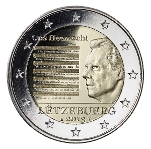 Luxemburg - 2 euro, Die Nationalhymne, 2013