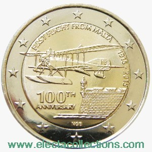 Malta – 2 Euro UNC, First flight from Malta, 2015