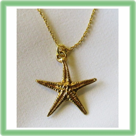 Silver gold plated Starfish necklace