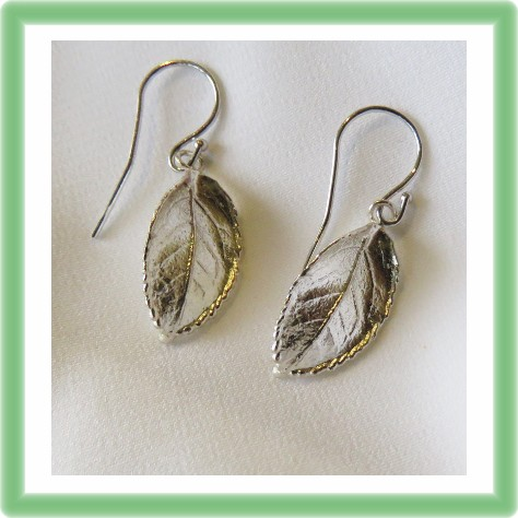 Silver real Rose Leaf Earrings