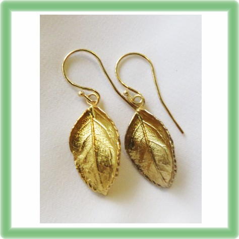 Silver gold plated real Rose Leaf Earrings