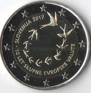 Slovenie  - 2 euro UNC, Introduction of the euro, 2017