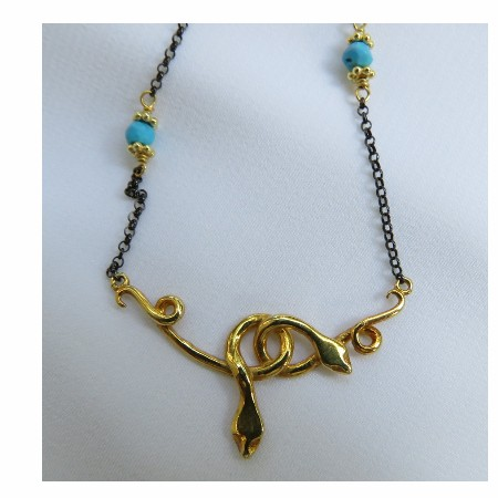 Snakes Necklace, gold plated silver, platinum plated chain
