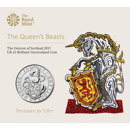 Great Britain - 5 pounds, Unicorn of Scotland, 2017 (BU in blister)