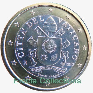Vatican - 1 €, Coat of Arms Pope Francis 2018 (BU in caps)