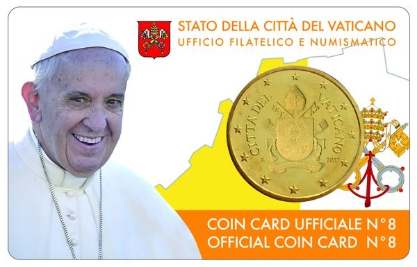Vatican - 50 Cent, COIN CARD - N. 8 ANNEE 2017
